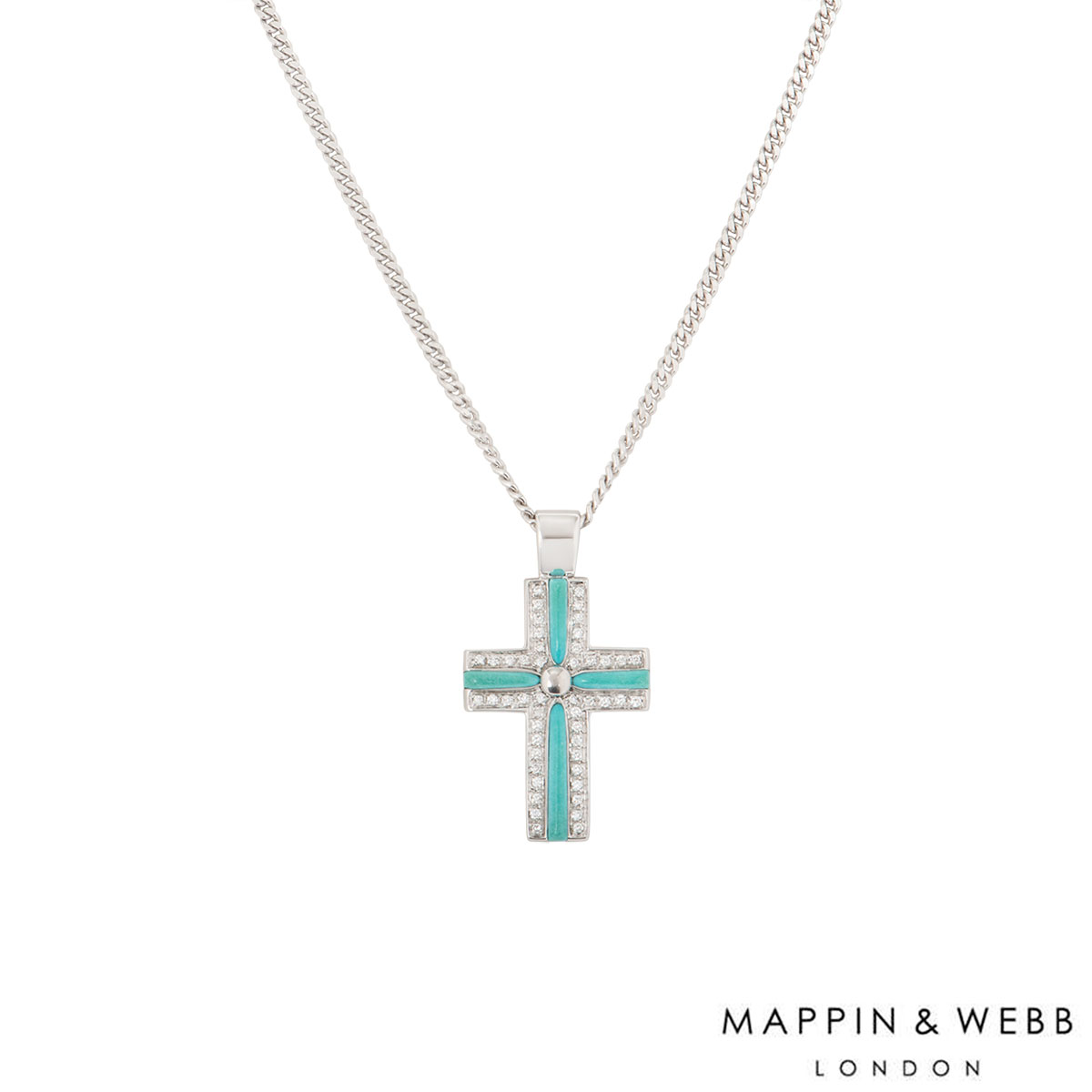 Mappin & Webb White Gold Diamond Cross Necklace